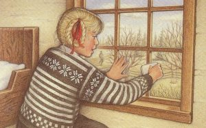 Kirsten is a young girl with light skin and blonde hair wearing a thick black and white sweater looking out the window at the winter prairie.